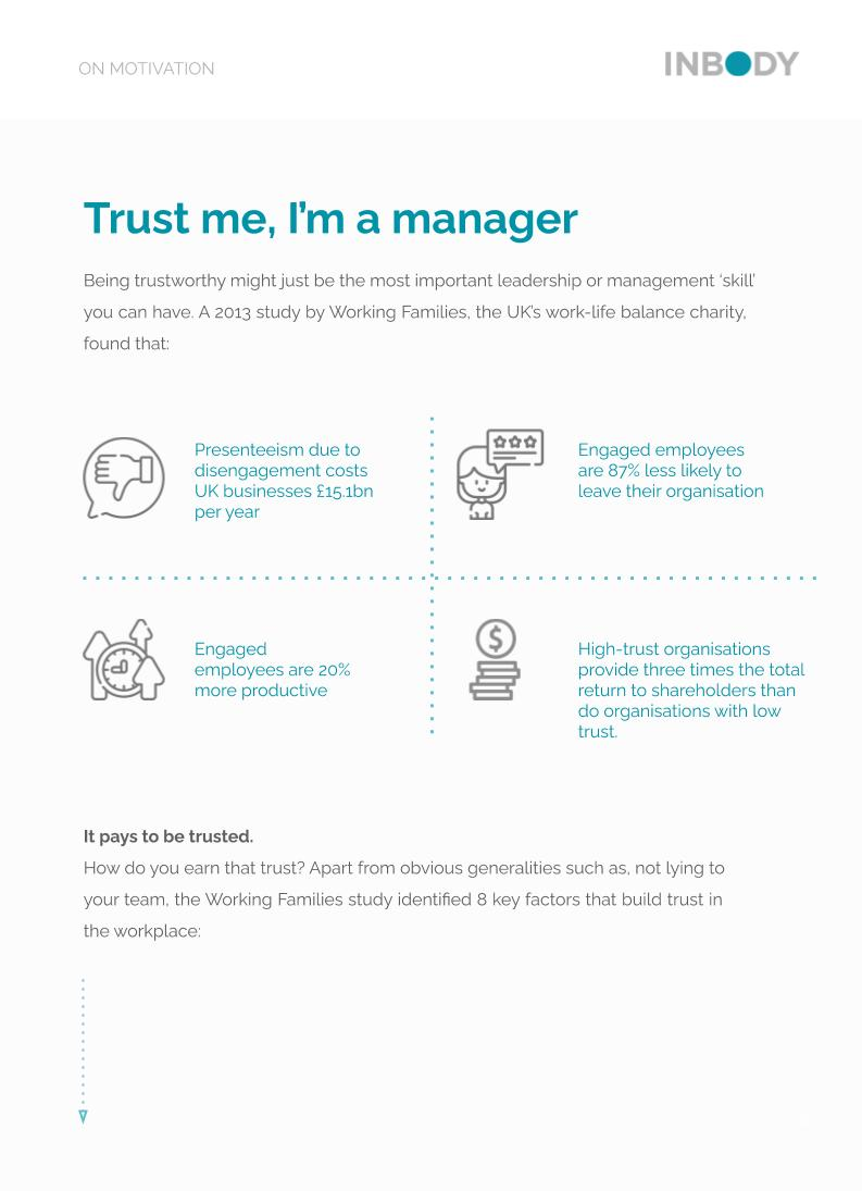 TRUST THE KEY TO AN ENGAGED AND MOTIVATED TEAM